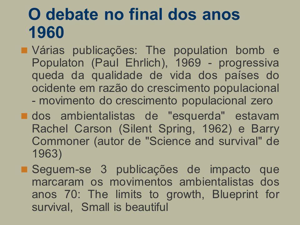 O debate no final dos anos 1960 Várias publicações: The population bomb e Populaton (Paul Ehrlich), 1969 - progressiva queda da qualidade de vida dos