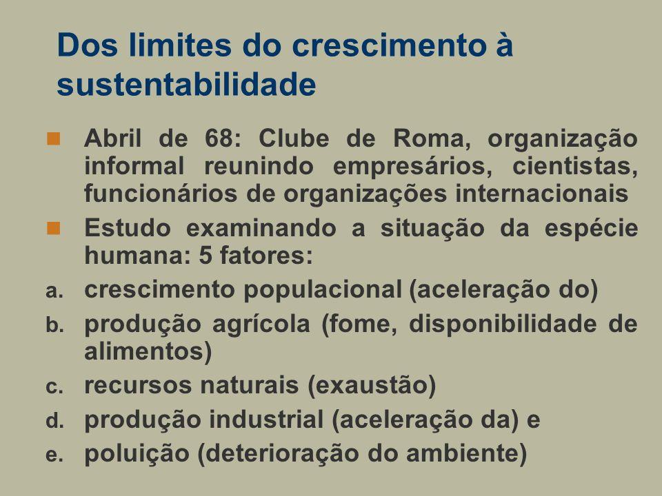 Dos limites do crescimento à sustentabilidade Abril de 68: Clube de Roma, organização informal reunindo empresários, cientistas, funcionários de organ