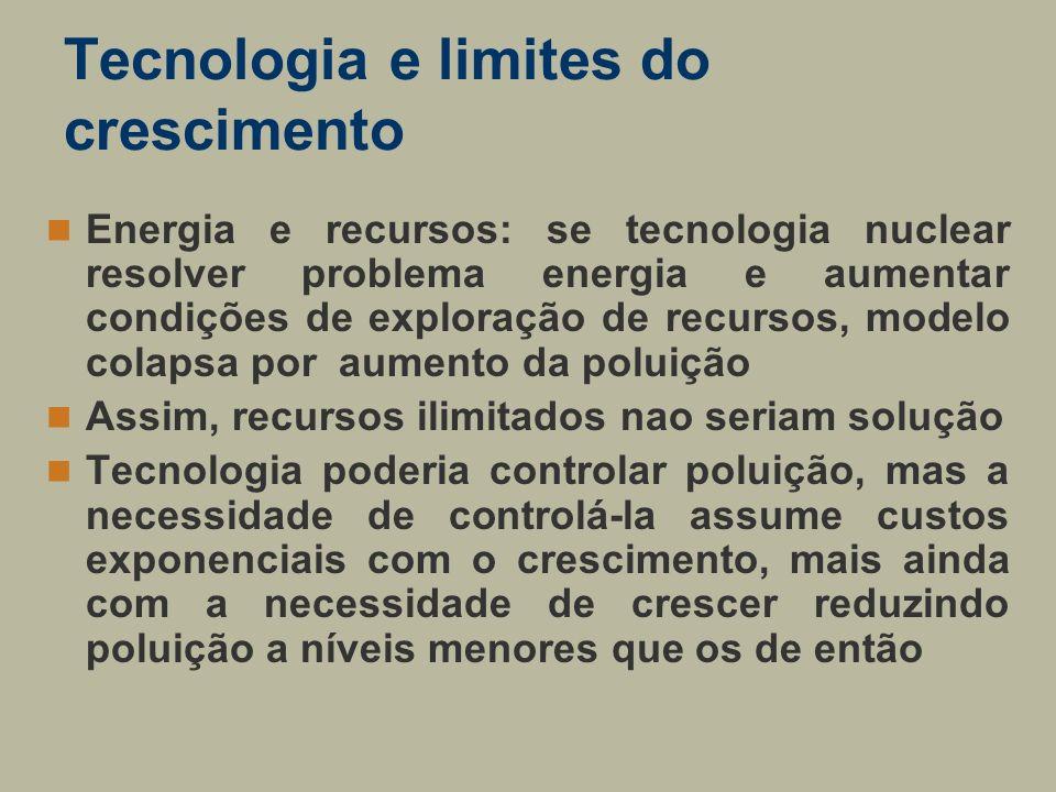 Tecnologia e limites do crescimento Energia e recursos: se tecnologia nuclear resolver problema energia e aumentar condições de exploração de recursos