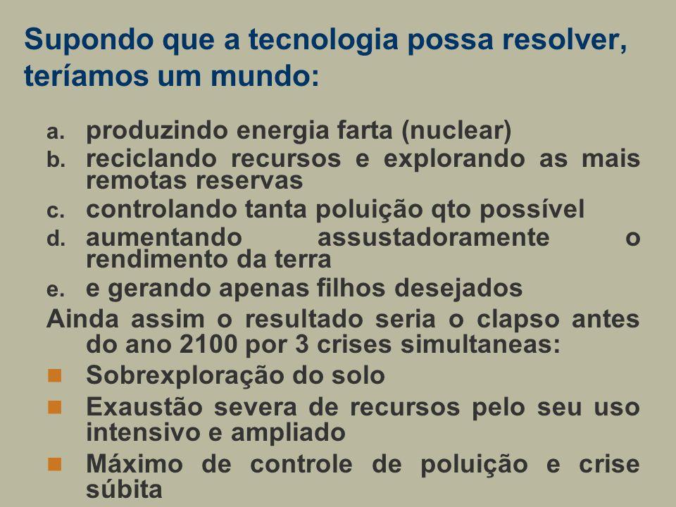 Supondo que a tecnologia possa resolver, teríamos um mundo: a. produzindo energia farta (nuclear) b. reciclando recursos e explorando as mais remotas