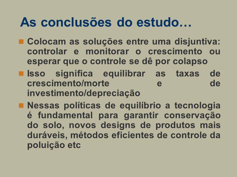 As conclusões do estudo… Colocam as soluções entre uma disjuntiva: controlar e monitorar o crescimento ou esperar que o controle se dê por colapso Iss