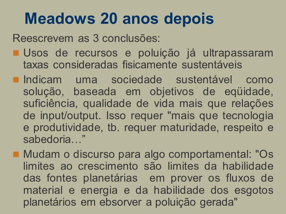 Meadows 20 anos depois Reescrevem as 3 conclusões: Usos de recursos e poluição já ultrapassaram taxas consideradas fisicamente sustentáveis Indicam um