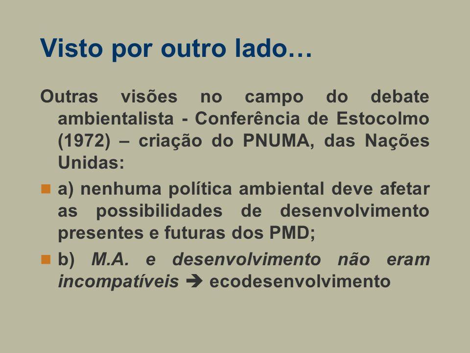 Visto por outro lado… Outras visões no campo do debate ambientalista - Conferência de Estocolmo (1972) – criação do PNUMA, das Nações Unidas: a) nenhu