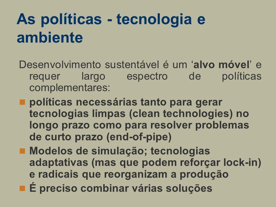 As políticas - tecnologia e ambiente Desenvolvimento sustentável é um alvo móvel e requer largo espectro de políticas complementares: políticas necess