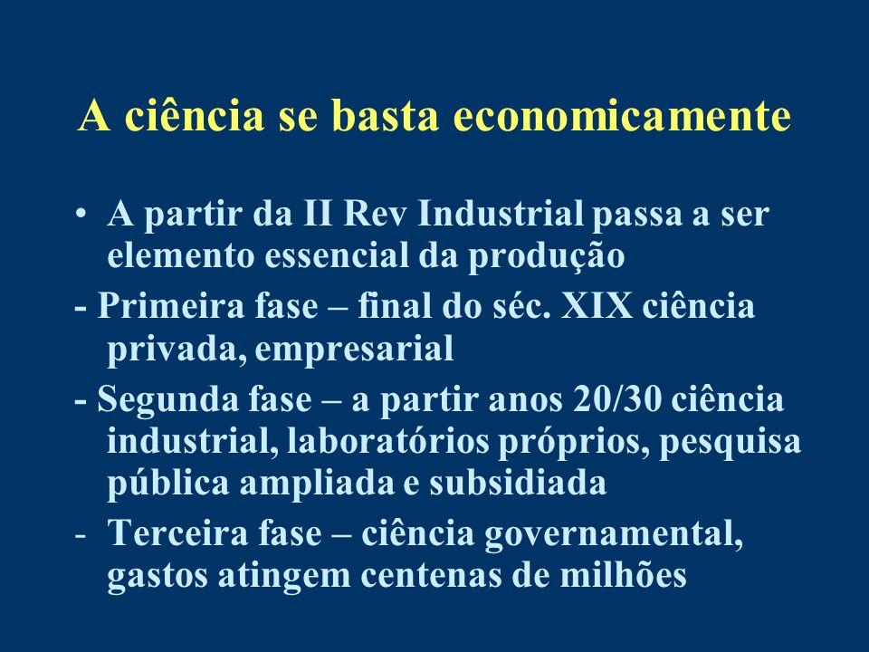 A ciência se basta economicamente A partir da II Rev Industrial passa a ser elemento essencial da produção - Primeira fase – final do séc. XIX ciência