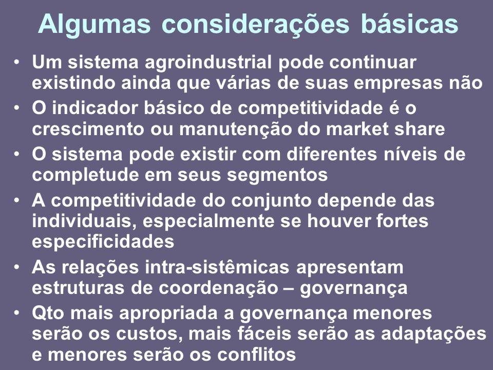 Algumas considerações básicas Um sistema agroindustrial pode continuar existindo ainda que várias de suas empresas não O indicador básico de competiti