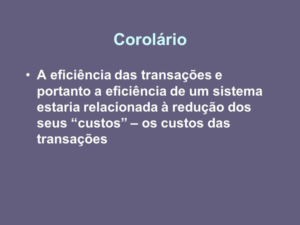 Corolário A eficiência das transações e portanto a eficiência de um sistema estaria relacionada à redução dos seus custos – os custos das transações