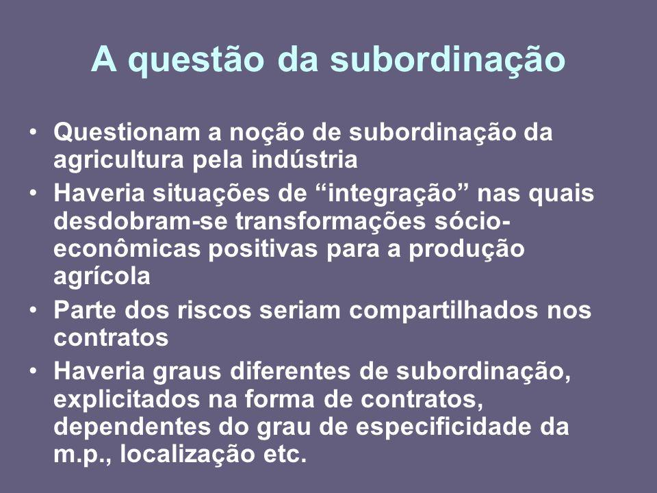 Questionam a noção de subordinação da agricultura pela indústria Haveria situações de integração nas quais desdobram-se transformações sócio- econômic