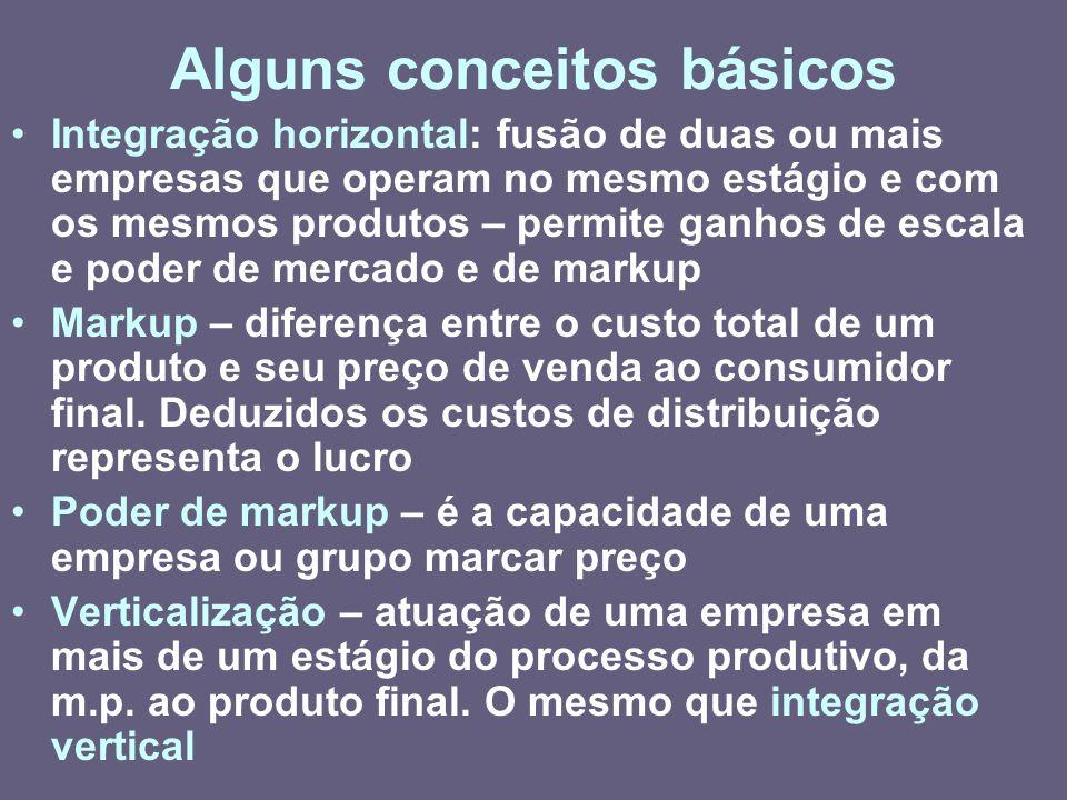 Alguns conceitos básicos Integração horizontal: fusão de duas ou mais empresas que operam no mesmo estágio e com os mesmos produtos – permite ganhos d