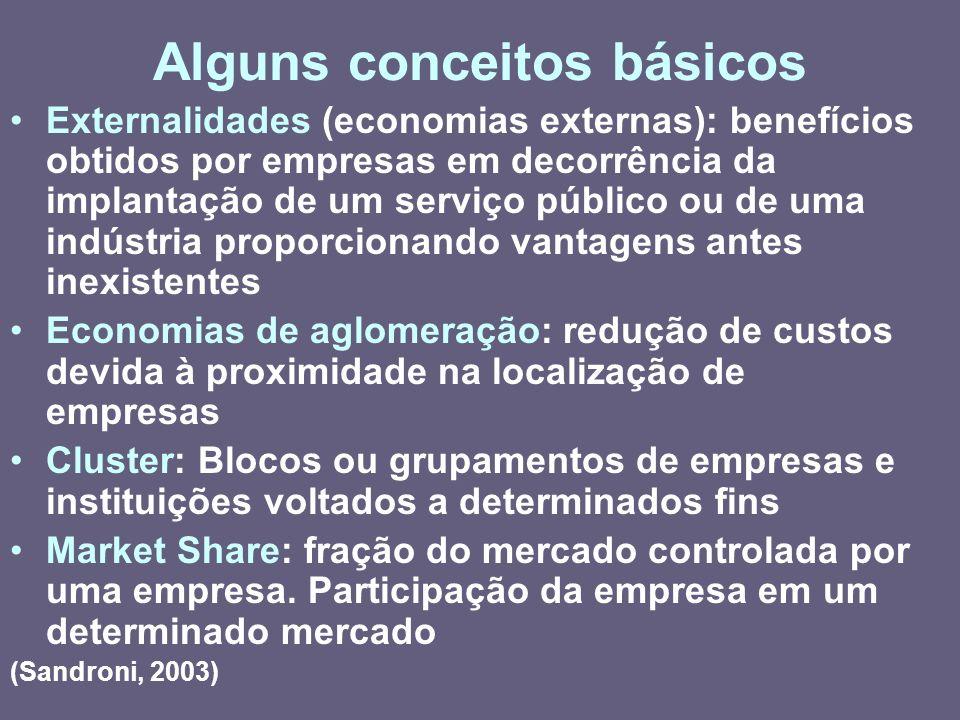 Alguns conceitos básicos Externalidades (economias externas): benefícios obtidos por empresas em decorrência da implantação de um serviço público ou d