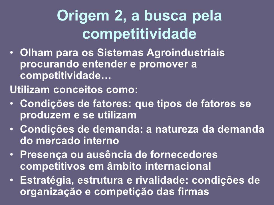 Origem 2, a busca pela competitividade Olham para os Sistemas Agroindustriais procurando entender e promover a competitividade… Utilizam conceitos com