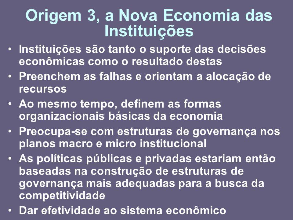 Origem 3, a Nova Economia das Instituições Instituições são tanto o suporte das decisões econômicas como o resultado destas Preenchem as falhas e orie