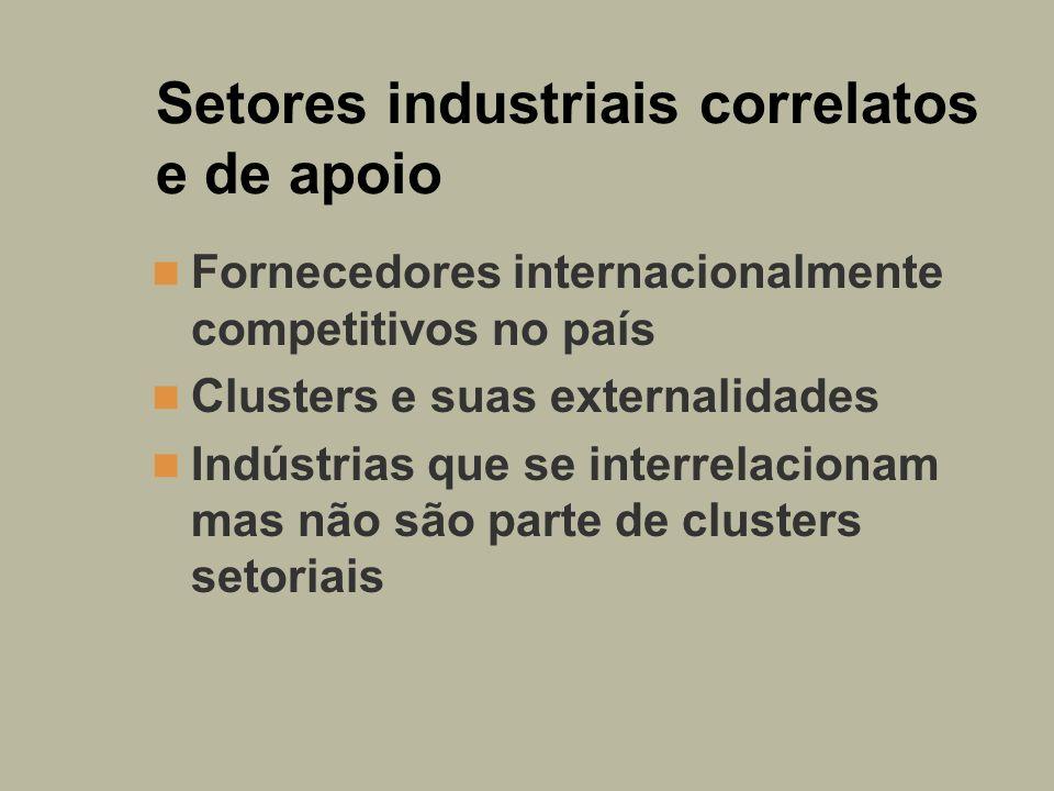 Setores industriais correlatos e de apoio Fornecedores internacionalmente competitivos no país Clusters e suas externalidades Indústrias que se interr