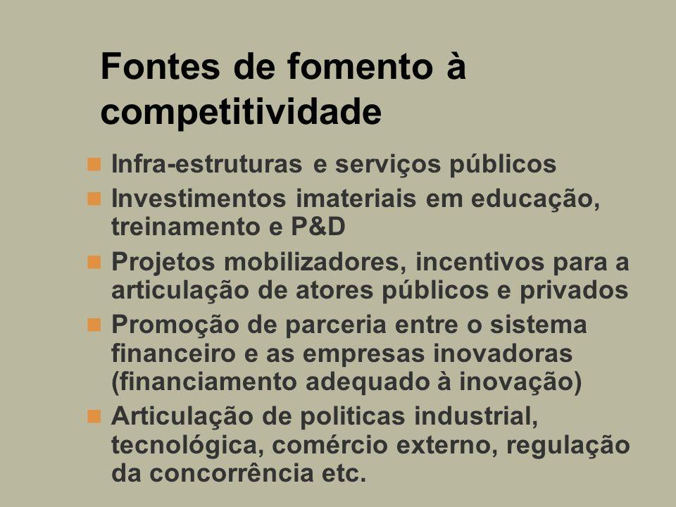 Fontes de fomento à competitividade Infra-estruturas e serviços públicos Investimentos imateriais em educação, treinamento e P&D Projetos mobilizadore