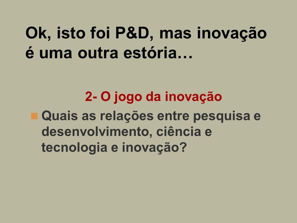 Ok, isto foi P&D, mas inovação é uma outra estória… 2- O jogo da inovação Quais as relações entre pesquisa e desenvolvimento, ciência e tecnologia e i
