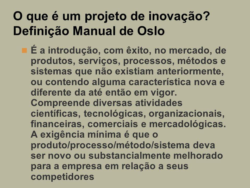 O que é um projeto de inovação? Definição Manual de Oslo É a introdução, com êxito, no mercado, de produtos, serviços, processos, métodos e sistemas q