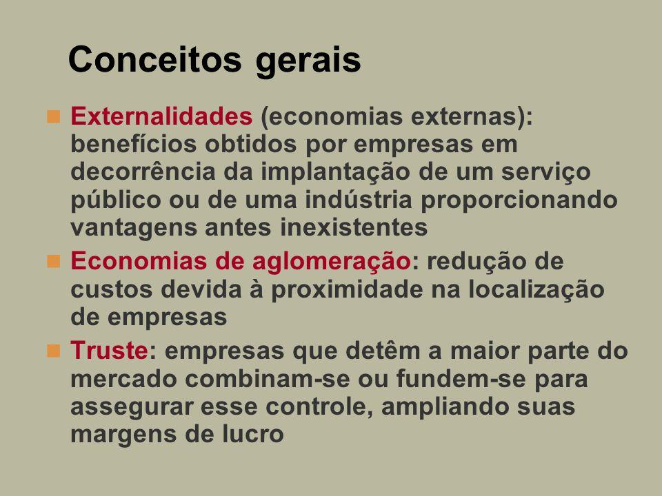 Conceitos gerais Externalidades (economias externas): benefícios obtidos por empresas em decorrência da implantação de um serviço público ou de uma in