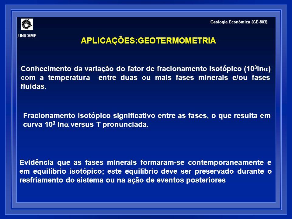 UNICAMP Geologia Econômica (GE-803) APLICAÇÕES:GEOTERMOMETRIA Evidência que as fases minerais formaram-se contemporaneamente e em equilíbrio isotópico
