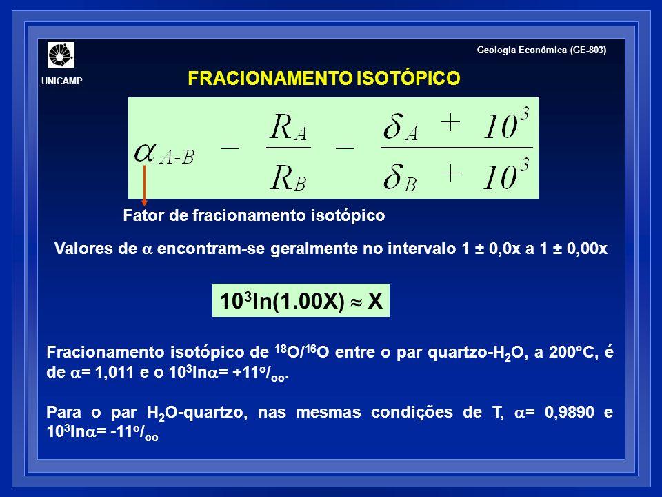 UNICAMP Geologia Econômica (GE-803) FRACIONAMENTO ISOTÓPICO Fator de fracionamento isotópico Valores de encontram-se geralmente no intervalo 1 ± 0,0x