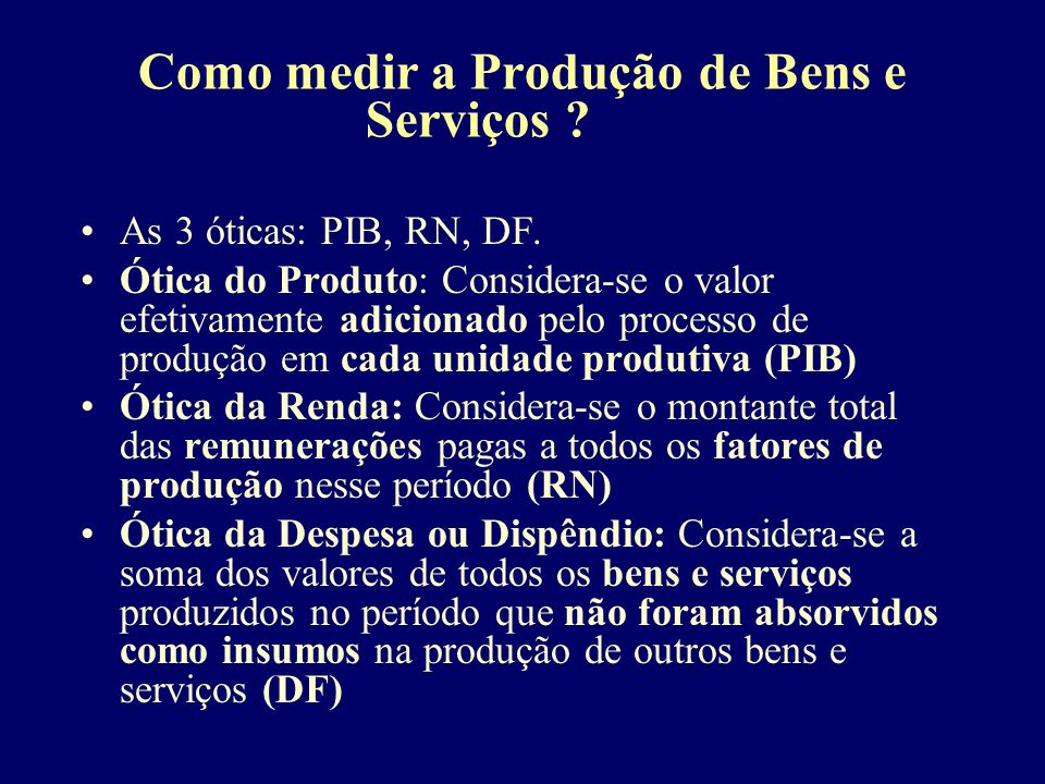 Como medir a Produção de Bens e Serviços . As 3 óticas: PIB, RN, DF.