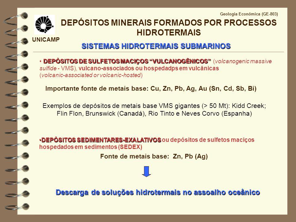 UNICAMP Geologia Econômica (GE-803) INTERAÇÃO ÁGUA DO MAR - CROSTA OCEÂNICA SISTEMAS HIDROTERMAIS SUBMARINOS Halos de Alteração Hidrotermal Minério(VMS)AssembléiahidrotermalAssembléiametamórfica Proximal Cu-Zn (Pb) Pirita, Calcopirita Distal Zn (Pb) Esfalerita Galena Cloritização Clorita fina + quartzo Cummingtonita + antofilita Sericitização sericita fina + quartzo Muscovita + quartzo Outros tipos de alterações comuns: silicificação, carbonatização, epidotização