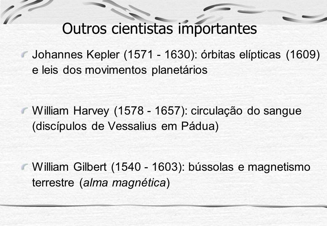 Outros cientistas importantes Johannes Kepler (1571 - 1630): órbitas elípticas (1609) e leis dos movimentos planetários William Harvey (1578 - 1657):