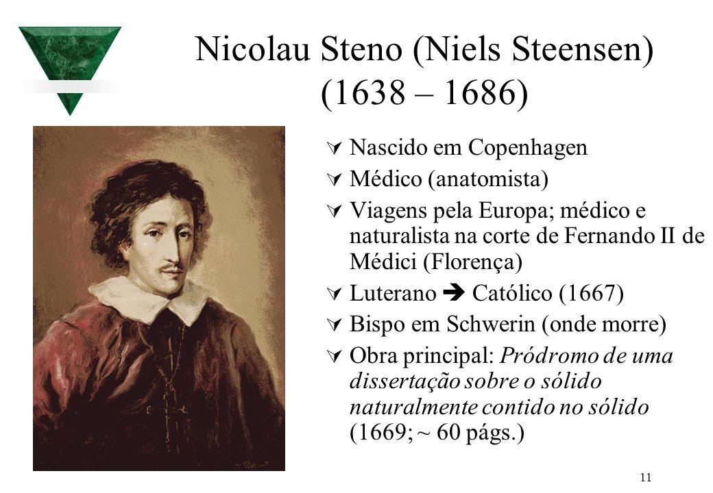 11 Nicolau Steno (Niels Steensen) (1638 – 1686) Nascido em Copenhagen Médico (anatomista) Viagens pela Europa; médico e naturalista na corte de Fernan