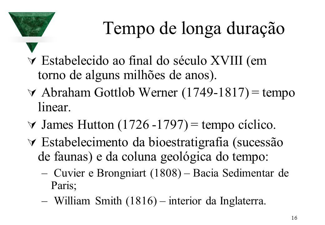 16 Tempo de longa duração Estabelecido ao final do século XVIII (em torno de alguns milhões de anos). Abraham Gottlob Werner (1749-1817) = tempo linea