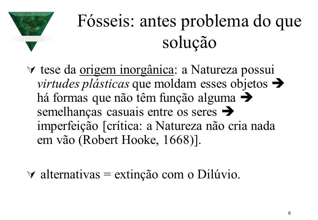 6 Fósseis: antes problema do que solução tese da origem inorgânica: a Natureza possui virtudes plásticas que moldam esses objetos há formas que não tê