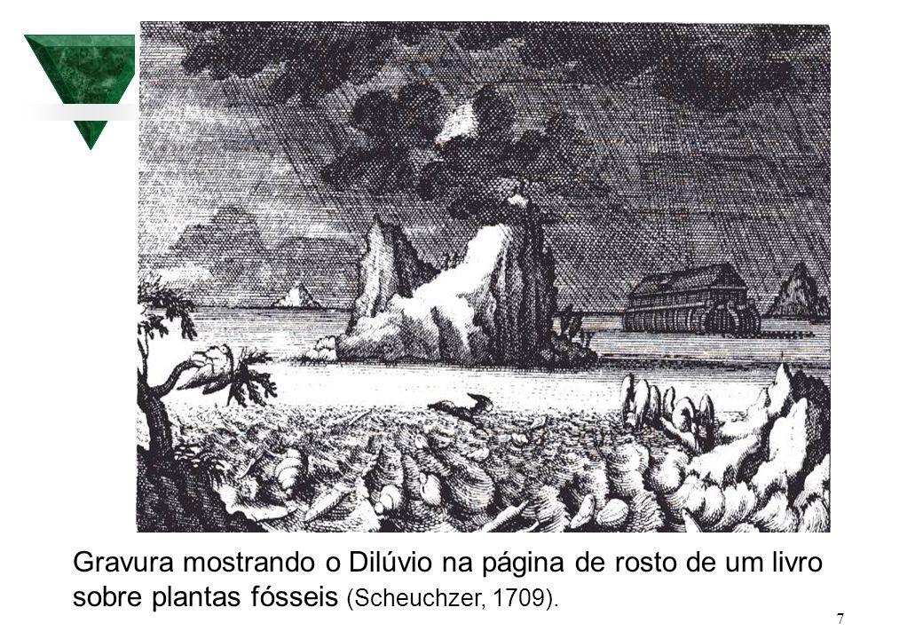 7 Gravura mostrando o Dilúvio na página de rosto de um livro sobre plantas fósseis (Scheuchzer, 1709).