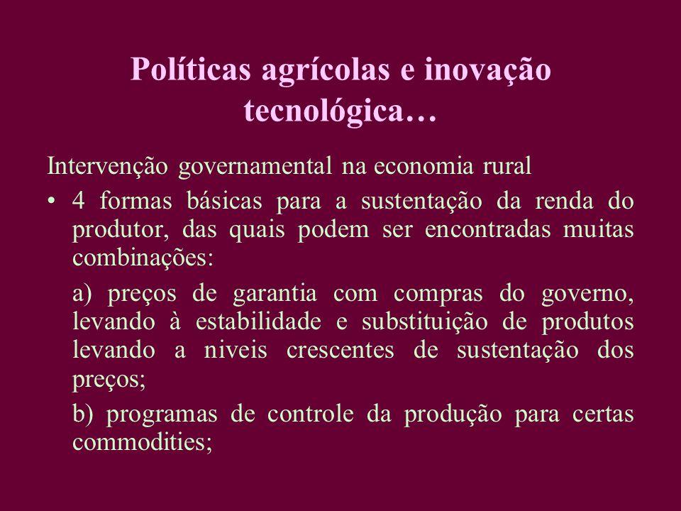 Políticas agrícolas e inovação tecnológica… Intervenção governamental na economia rural 4 formas básicas para a sustentação da renda do produtor, das
