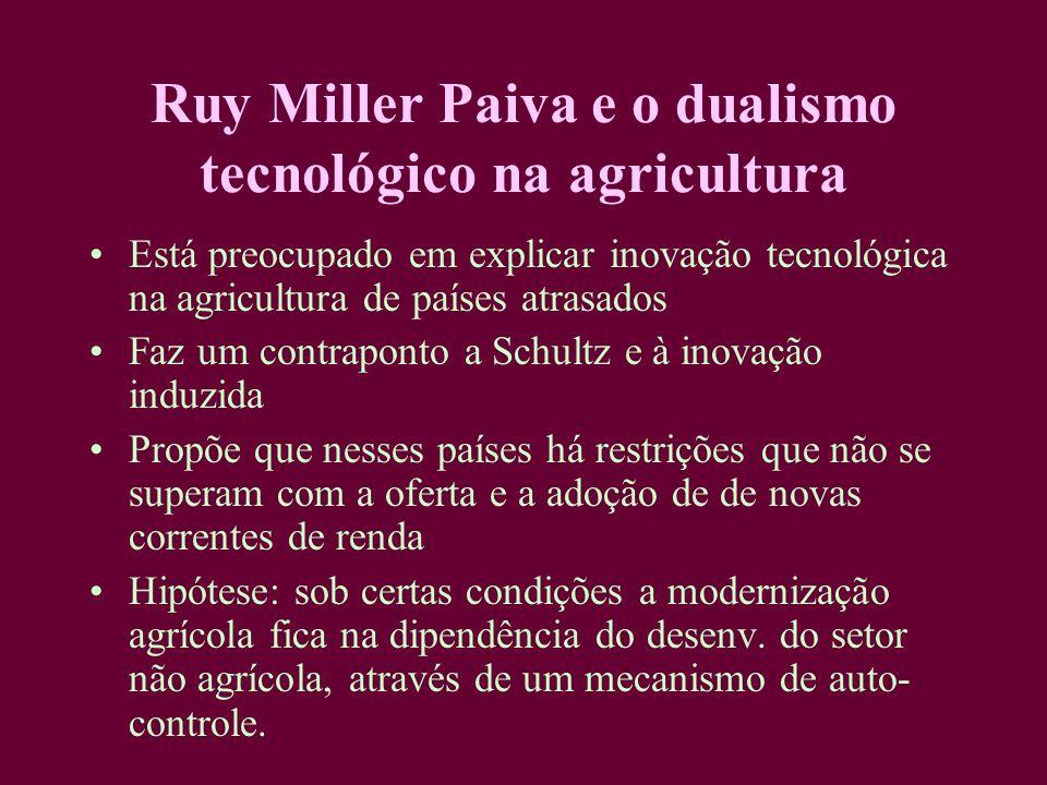 Ruy Miller Paiva e o dualismo tecnológico na agricultura Está preocupado em explicar inovação tecnológica na agricultura de países atrasados Faz um co