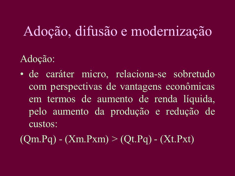 Adoção, difusão e modernização Adoção: de caráter micro, relaciona-se sobretudo com perspectivas de vantagens econômicas em termos de aumento de renda