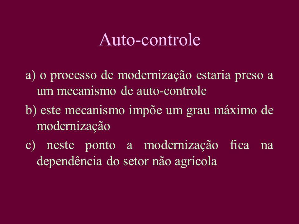Auto-controle a) o processo de modernização estaria preso a um mecanismo de auto-controle b) este mecanismo impõe um grau máximo de modernização c) ne
