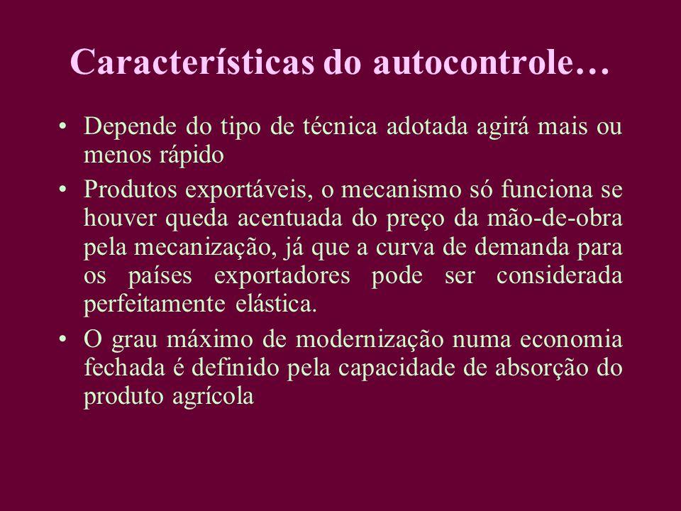 Características do autocontrole… Depende do tipo de técnica adotada agirá mais ou menos rápido Produtos exportáveis, o mecanismo só funciona se houver
