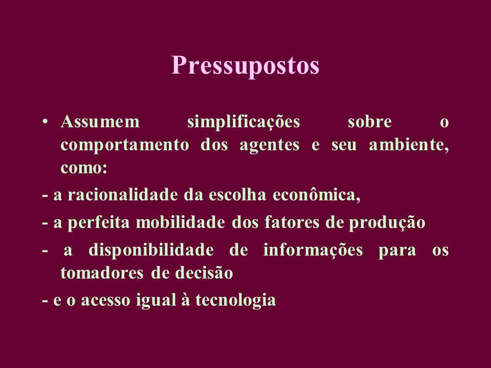 Pressupostos Assumem simplificações sobre o comportamento dos agentes e seu ambiente, como: - a racionalidade da escolha econômica, - a perfeita mobil