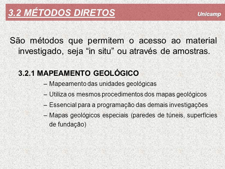 Unicamp 3.2 MÉTODOS DIRETOS São métodos que permitem o acesso ao material investigado, seja in situ ou através de amostras. 3.2.1 MAPEAMENTO GEOLÓGICO