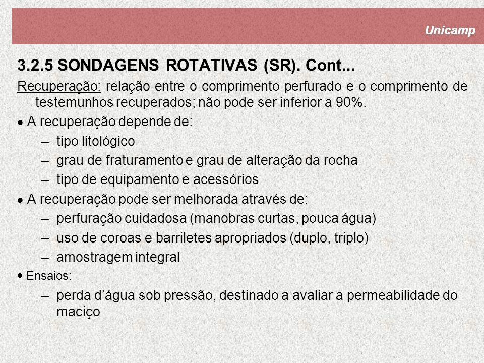 Unicamp 3.2.5 SONDAGENS ROTATIVAS (SR). Cont... Recuperação: relação entre o comprimento perfurado e o comprimento de testemunhos recuperados; não pod