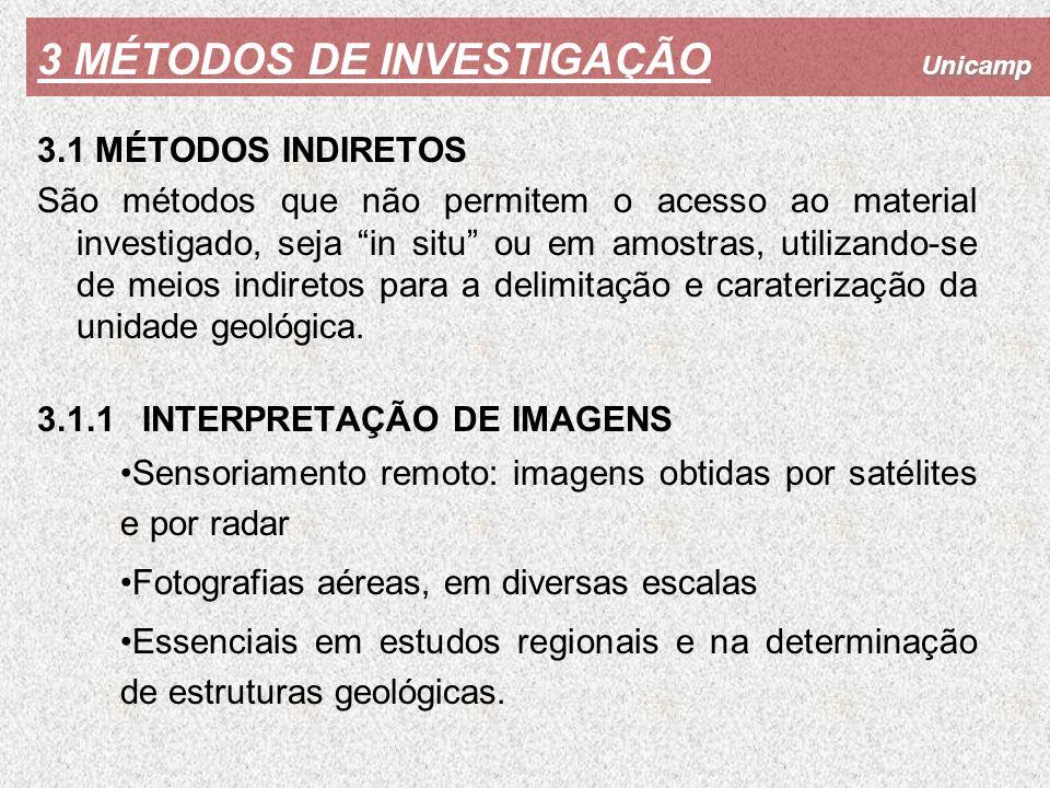 Unicamp 3 MÉTODOS DE INVESTIGAÇÃO 3.1 MÉTODOS INDIRETOS São métodos que não permitem o acesso ao material investigado, seja in situ ou em amostras, ut