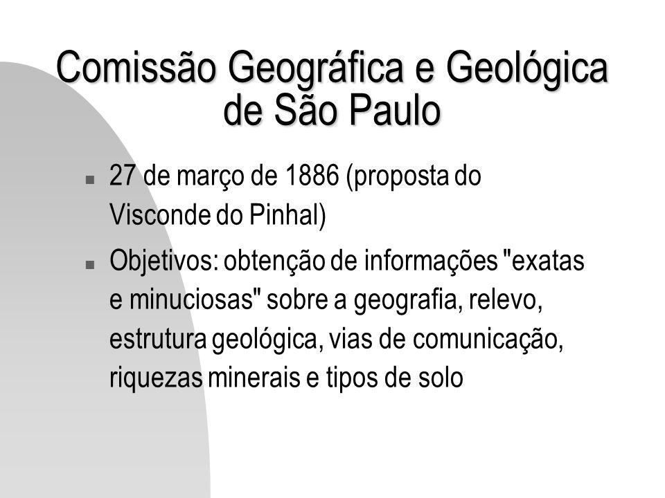 Comissão Geográfica e Geológica de São Paulo n 27 de março de 1886 (proposta do Visconde do Pinhal) n Objetivos: obtenção de informações
