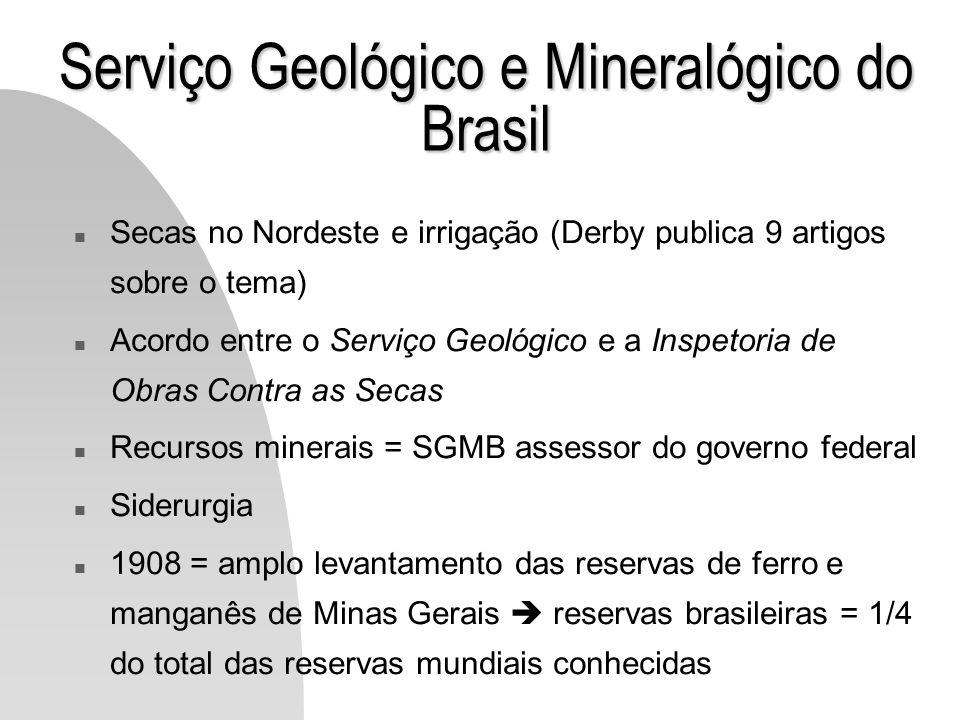 Serviço Geológico e Mineralógico do Brasil n Secas no Nordeste e irrigação (Derby publica 9 artigos sobre o tema) n Acordo entre o Serviço Geológico e
