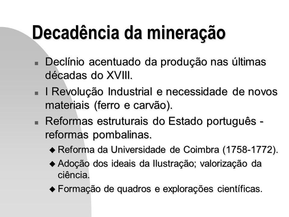 Decadência da mineração n Declínio acentuado da produção nas últimas décadas do XVIII. n I Revolução Industrial e necessidade de novos materiais (ferr