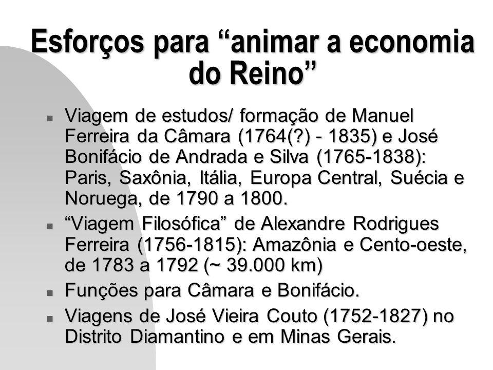 Esforços para animar a economia do Reino n Viagem de estudos/ formação de Manuel Ferreira da Câmara (1764(?) - 1835) e José Bonifácio de Andrada e Sil