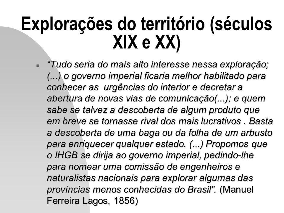 Explorações do território (séculos XIX e XX) n Tudo seria do mais alto interesse nessa exploração; (...) o governo imperial ficaria melhor habilitado