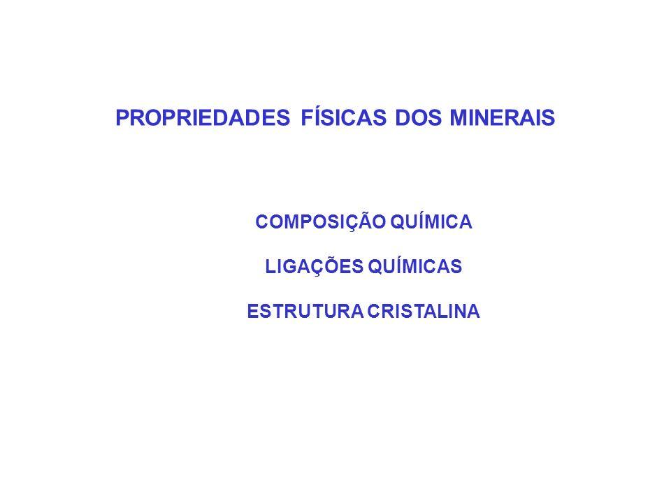 PROPRIEDADES FÍSICAS DOS MINERAIS COMPOSIÇÃO QUÍMICA LIGAÇÕES QUÍMICAS ESTRUTURA CRISTALINA