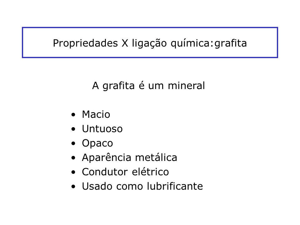 Propriedades X ligação química:grafita A grafita é um mineral Macio Untuoso Opaco Aparência metálica Condutor elétrico Usado como lubrificante