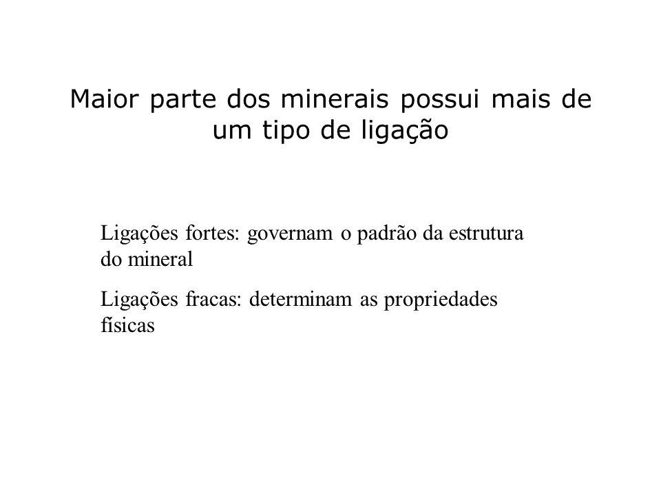 Maior parte dos minerais possui mais de um tipo de ligação Ligações fortes: governam o padrão da estrutura do mineral Ligações fracas: determinam as p