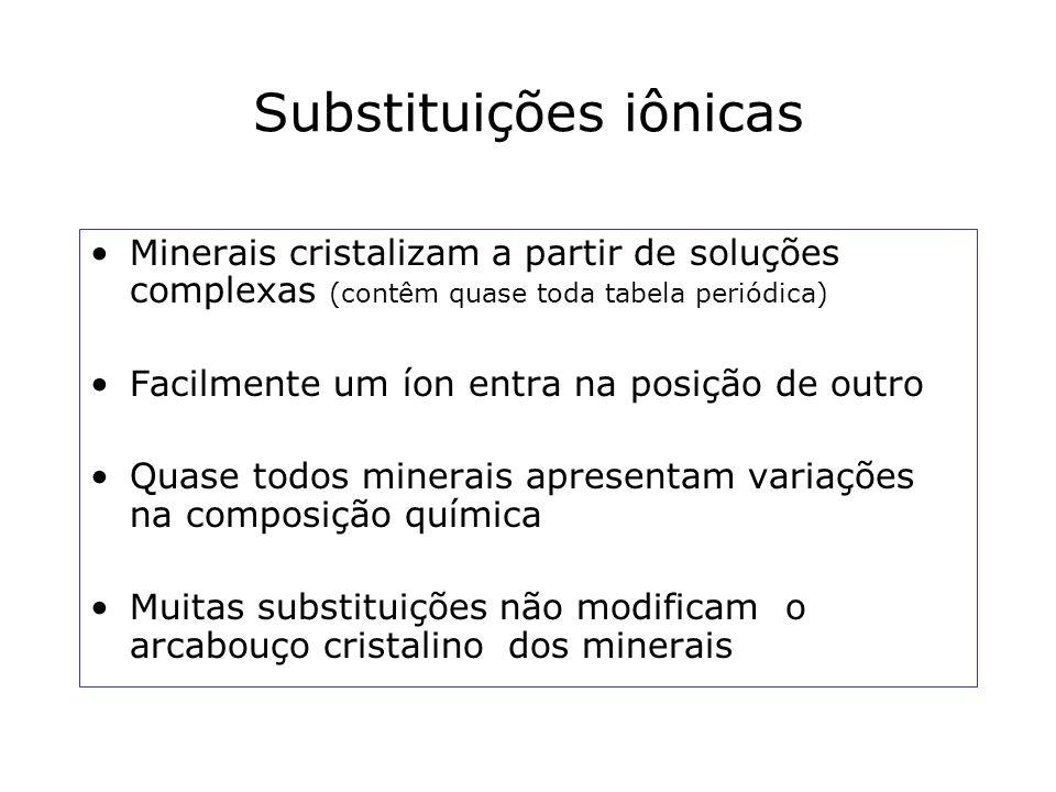 Substituições iônicas Minerais cristalizam a partir de soluções complexas (contêm quase toda tabela periódica) Facilmente um íon entra na posição de o