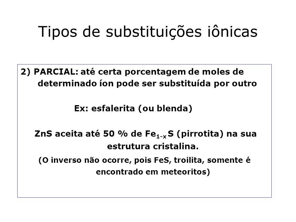 Tipos de substituições iônicas 2) PARCIAL: até certa porcentagem de moles de determinado íon pode ser substituída por outro Ex: esfalerita (ou blenda)