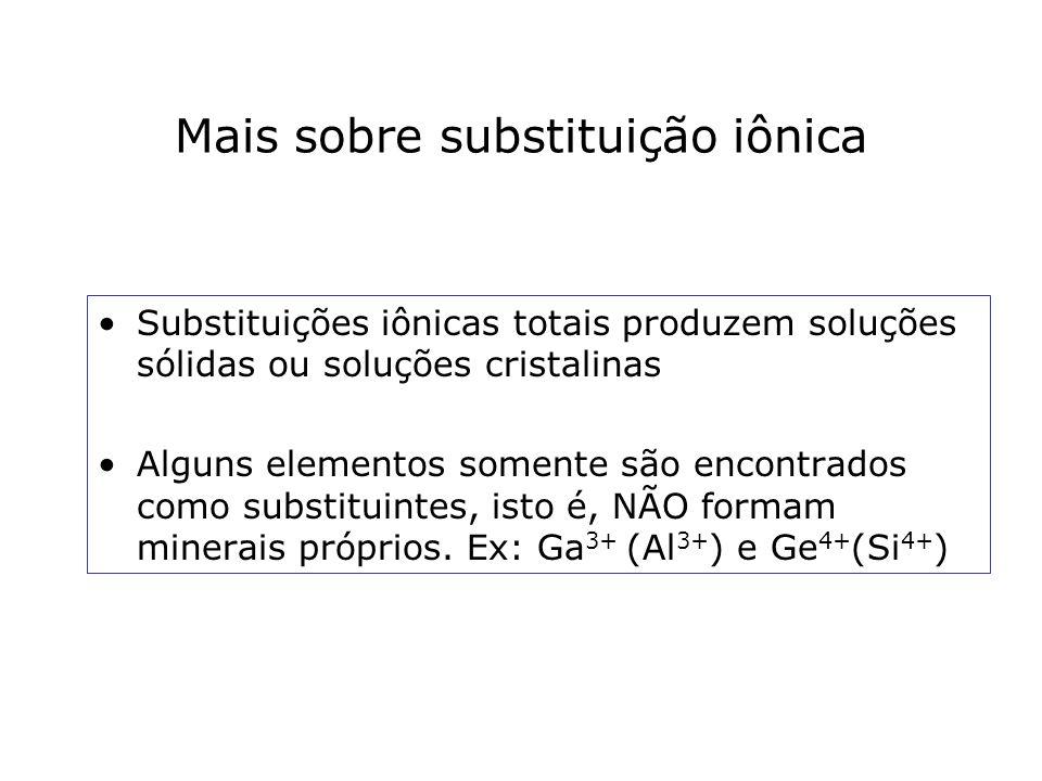 Mais sobre substituição iônica Substituições iônicas totais produzem soluções sólidas ou soluções cristalinas Alguns elementos somente são encontrados